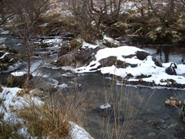 Snow on the Inverie River